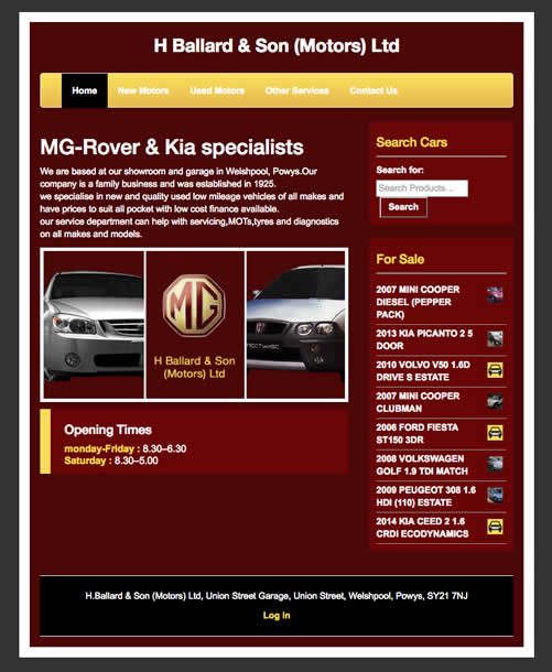 H Ballard Motors - Coderra Ltd :: Cheshire web design